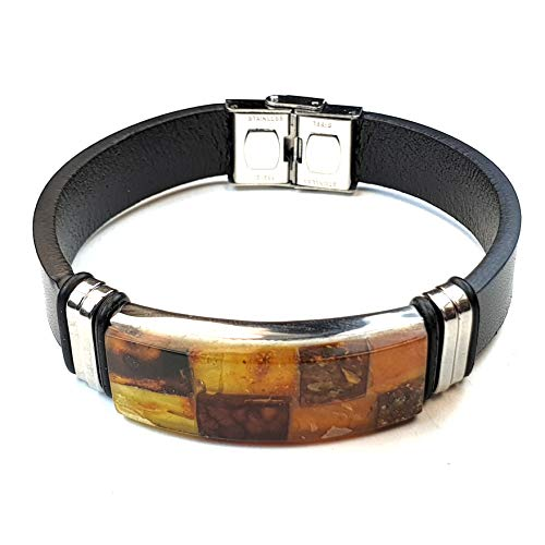 Baltic Amber Rubber Bracelet with Square Ornament in a Luxery Gift Box   Black Rubber Wrap for Men and Women (Unisex) with Stainless Steel Buckle and Amber Adjustable Size (B2)