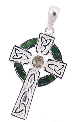 "Connemara Marble Cross (Celtic Cross Necklace For Women In Silver with Connemara Marble on 18"" chain.)"