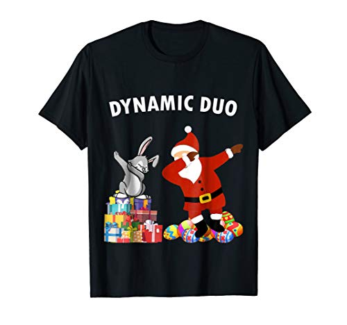 Funny Santa Claus and Easter Bunny Dynamic Duo Tshirt