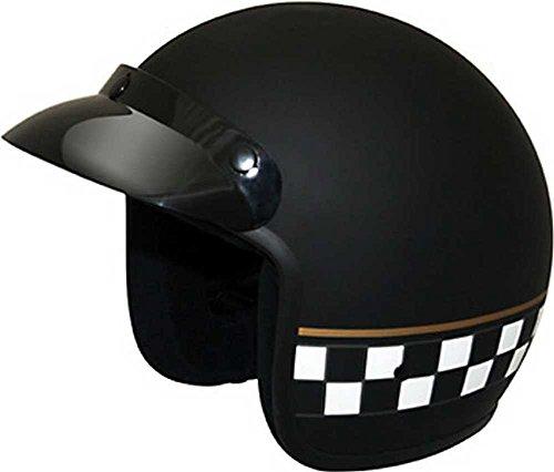HCI Matte Black Checkerboard Open Face Motorcycle Helmet w/ Visor 10-040 (Checkerboard Face)