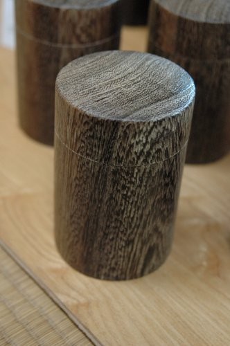 Solid Kiri Wood, Smoked Finish, Japanese Style Tea Canister (Round) - Japanese Tea Canister