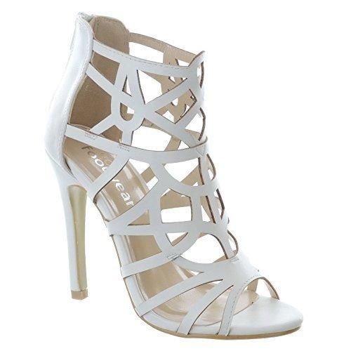 Mujer Tacón Alto De Salón Mujer Enjaulado Sandalias Cremallera ABIERTO Punta Abierta Zapatos De Gladiador Talla Blanco Piel Sintética