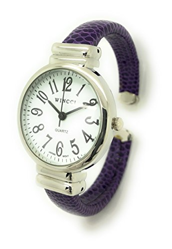 Ladies Snakeskin Leather Bangle Cuff Watch Round Case White Dial Wincci (Purple)