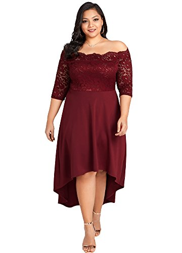 Jose Pally Women Plus Size Off Shoulder Lace Maxi Dress 3/4 Sleeves ...