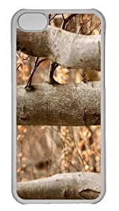 Customized iphone 5C PC Transparent Case - Tree Trunks Fall Personalized Cover