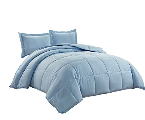 Chezmoi Collection 3-Piece Down Alternative Comforter Set (Queen, Chambray Blue)