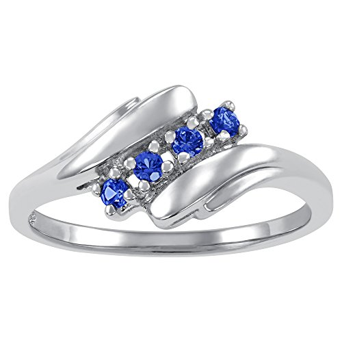 (ArtCarved Love Promise Simulated Sapphire September Birthstone Ring, Sterling Silver, Size 8)