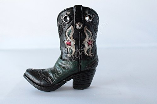 Mini Western Cowboy Cowgirl Rustic Flower Boot Vase Toothpick Pen Holder Rustic Leather Look