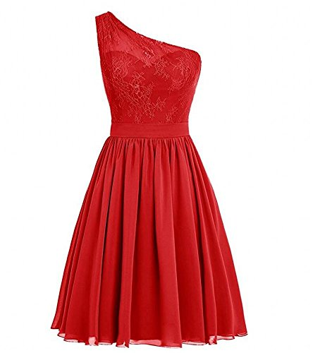 Dresses Lace Short AK One Red Bridesmaid Prom Women's Shoulder Dress Beauty 0nwzqU
