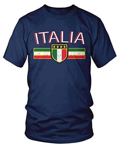(Amdesco Men's Italia Flag and Shield, Italy Italian Pride T-Shirt, Navy Blue 3XL)