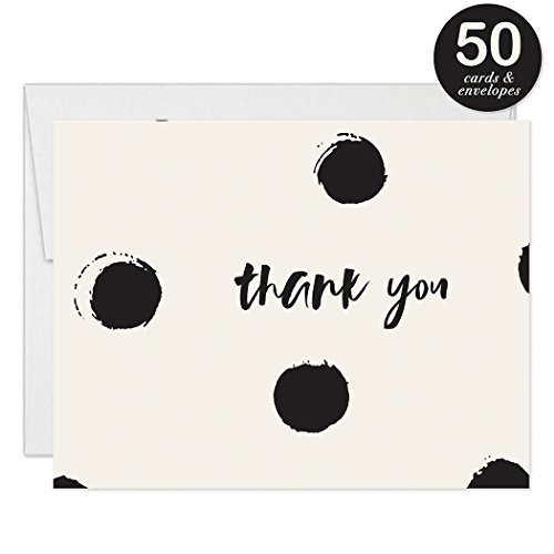 Modern Polka Dot Thank You Cards With Envelopes Pack Of 50 30th