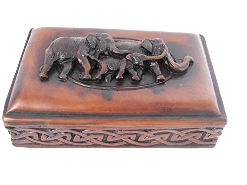 Blue Orchid Elephant Trinket Box with Lid for Jewelry Keepsakes - Feng Shui Elephant Family Decor - Brown Resin Sculpture 6 Inches (Elephant Resin Sculpture)