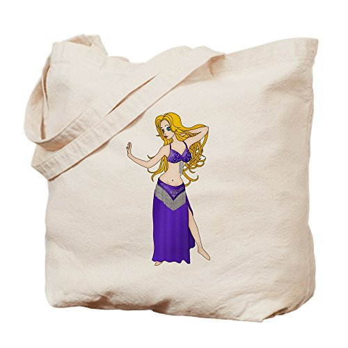 CafePress - Pretty Blonde Haired Bellydancer In Indigo And Sil - Natural Canvas Tote Bag, Cloth Shopping ()