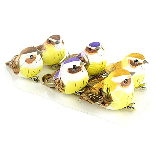 Clever Home 3 Inch Bird Assortment Light Brown, Purple and Dark Brown for Decoration, Floral Arrangements and Arts & Crafts Set of ()