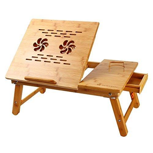 Portátil computadora beaucoup Laptop mesa 100% bambú ajustable con USB fan2plegable Bandeja de desayuno Servir la cama cajón del computadora, 2 Fan, Mediano