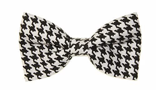 (Men's Black and White Houndstooth Clip On Cotton Bow Tie Bowtie by)