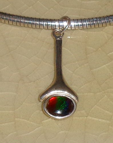 Ammolite Sterling Silver Pendant Omega Chain