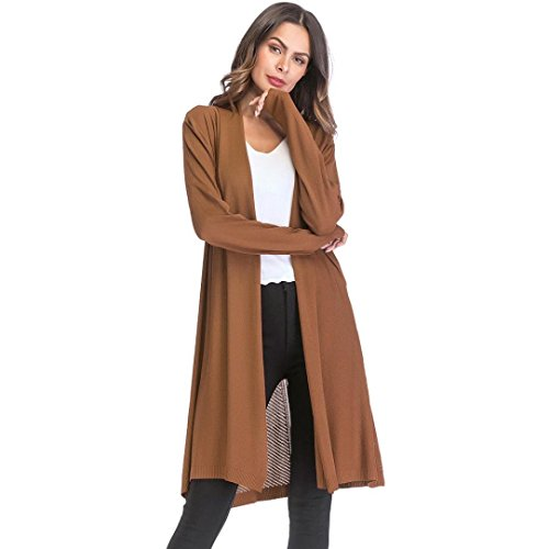 Gillberry Women's Open Front Casual Coat Jacket Solid Knit Cardigan Retro Loose Long Sleeve Tops (Khaki, M) by Gillberry Women's Blouse