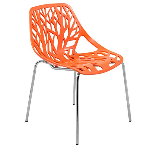 Cheap LeisureMod Modern Asbury Dining Chair with Chromed Legs, Orange
