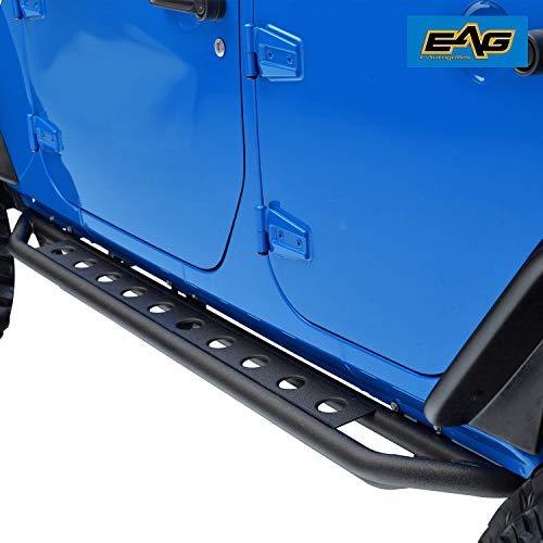 EAG Side Armor Steps Fit for 07-18 Jeep Wrangler JK 4 Door Nerf Bars Running Boards ()