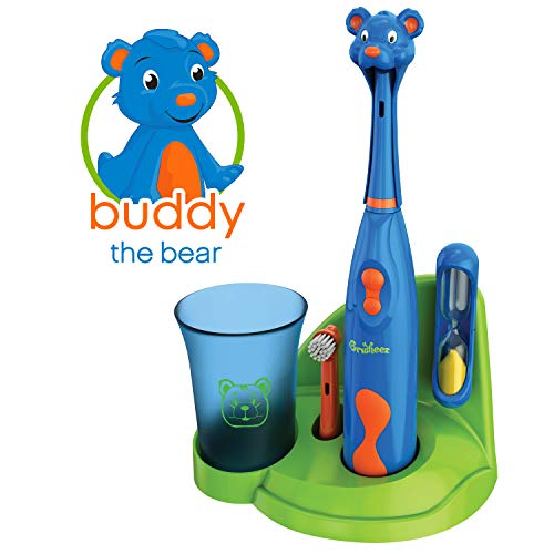 Brusheez Kid's Electric Toothbrush Set - Buddy the Bear - New & Improved with Softer Bristles, Easy-Press Power Button, 2 Brush Heads, Cute Animal Cover, Sand Timer, Rinse Cup & Storage Base