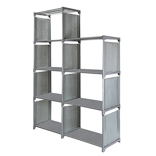 Jollyoner 4-tier Storage Cube Closet Organizer Shelf, DIY 7-cube Bookcase Cabinet without Doors for Bedroom, Living Room and Office Gray by Jollyoner