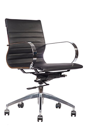 lazyBuddy Premium PU Leather Soft Pad Executive Management Office Replica Chair Swivel and Polished Aluminium Frame - Ribbed Mid Back Version (Black)