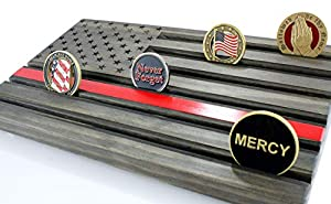 LOKI ENGRAVING Thin RED Line Black American Flag Challenge Coin Display from Loki Engraving