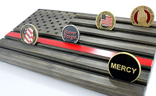 LOKI ENGRAVING Thin RED Line Black American Flag Challenge Coin Display