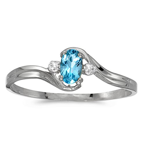 0.19 Carat (ctw) 10k White Gold Oval Blue-Topaz and Diamond Accent Bypass Swirl Fashion Promise Ring (5 x 3 MM) - Size 9.5 ()