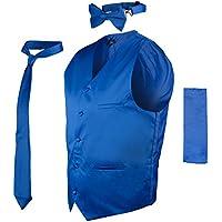 Vittorino Mens 4 Piece Formal Vest Set Combo with Tie Bow Tie and Handkerchief