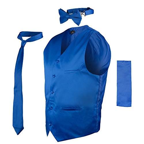 Vittorino Mens 4 Piece Formal Vest Set Combo with Tie Bow Tie and Handkerchief, Royal, XX-Large