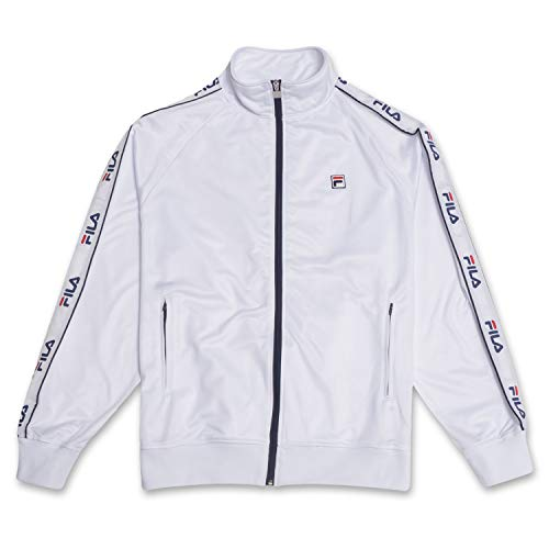 Fila Mens Big and Tall Track Jacket with Logo Taping Down Arms White 5X
