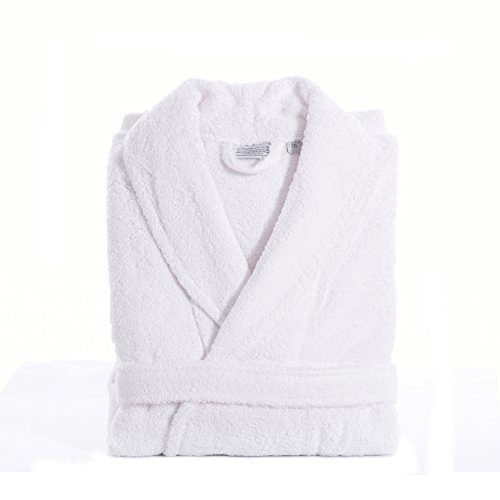 Linum Home Textiles 100% Turkish Cotton Unisex Terry Cloth Bathrobe, White, Large/XL by Linum Home Textiles
