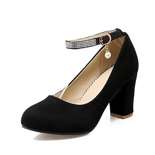Balamasa Dames Strass Chunky Talons Charmes Daim Pompes Chaussures Noir