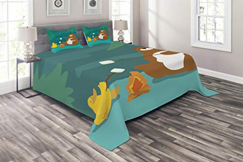 - Lunarable Camping Coverlet Set Queen Size, Bear and Duck Roasting Marshmallow at Fire Forest Animals Funny Cartoon Characters, 3 Piece Decorative Quilted Bedspread Set with 2 Pillow Shams, Multicolor