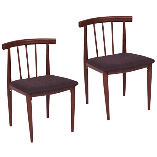 AK Energy Set of 2 Easy Dining Chairs Fabric Upholstered Armless Steel Back Support Home Furniture