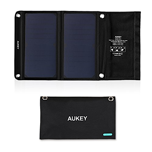 AUKEY Universal 14W Solar Charger with 2 USB Ports and SunPower Solar...