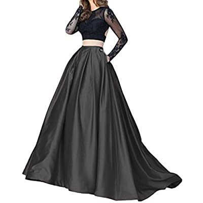 Lisong Women Floor Length High Waisted Taffeta Party Skirt
