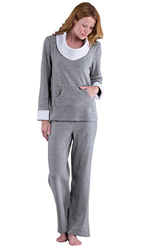 PajamaGram Super Soft Pajamas For Women - Fleece, Gray, LRG (12-14)