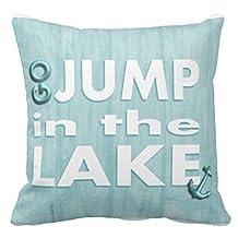 Damuyas Light Blue Go Jump in the Lake Cushion Cover Throw Pillow Case Beach House Decor (Jump in the Lake)