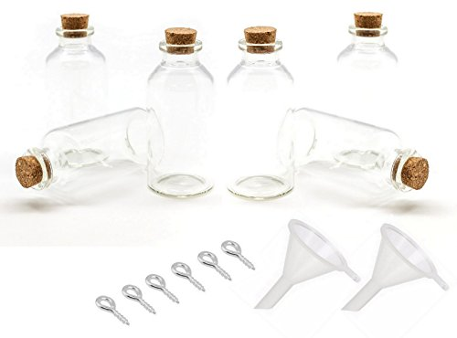 Azi 6pc Set of 1oz (30ml) Cork jar Glass Bottles with 6 Metal Eye Hook Pin Screws & 2 Mini Funnels - DIY Decoration Mini Glass Bottles Mini vials Cork Message Glass Tube Bottle Vial Cork Small Glass