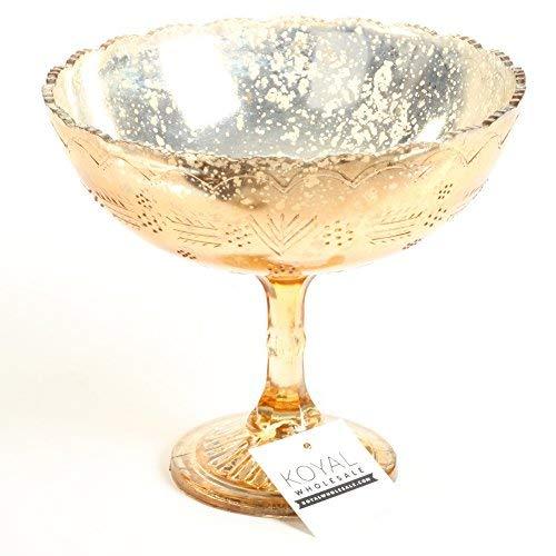 (Koyal Wholesale Compote Bowl Centerpiece Mercury Glass Antique Pedestal Vase, Floral Centerpiece, Wedding, Bridal Shower, Home Décor (8