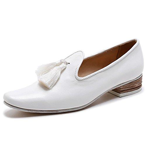 Nio Sju Äkta Läder Kvinnor Fyrkantig Tå Låg Klack Tofsar Dressat Bekväm Handgjorda Loafers Vit