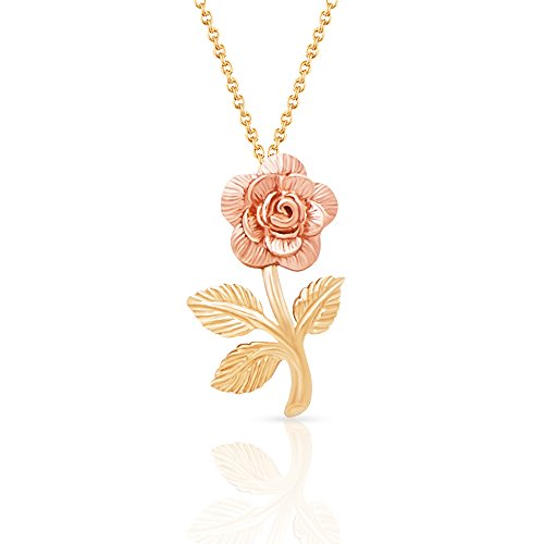 Jewel Connection Beauty and the Beast 14k Solid Yellow and Rose Gold Rose Pendant Necklace for women and girls. (20) 14k Yellow Gold Pendant Necklace