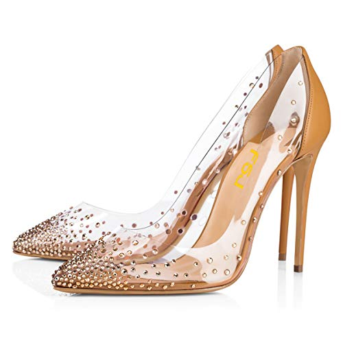 FSJ Women Studded Pointed Toe Transparent Pumps High Heels Shoes with Rhinestones Size 7 Tan