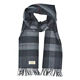 Burberry Vintage Large Classic Check Cashmere Scarf in Charcoal
