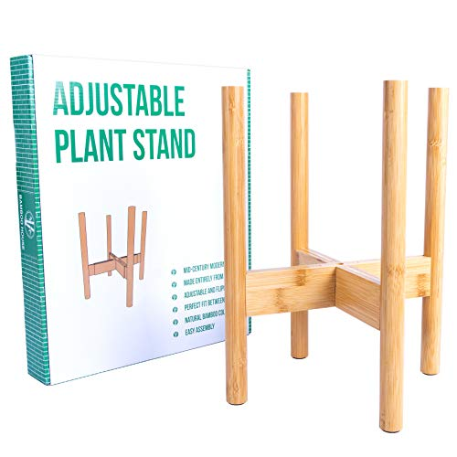Bamboo House Mid-Century Style Adjustable Width Plant Stand Between 9-13 Made from Bamboo - Modern Home Decor, Elegant Flower Pot Holder, Fits Medium to Large Pots - EXCLUDING Plant Pot