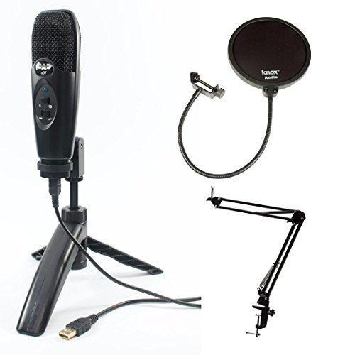 Cad U37 Balck USB Mic w/Knox Desktop Boom Arm Stand & Pop Filter