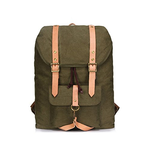 BAGEHUA Männermode Rucksack meine Damen Retro Canvas Bag große Kapazität langlebig Reisen Picknick Rucksack Laptop Rucksack Kapazität 20-35 L green